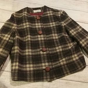 Pendleton green brown cream plaid blazer